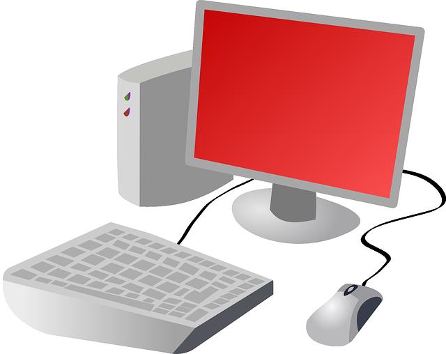赤い画面のパソコン