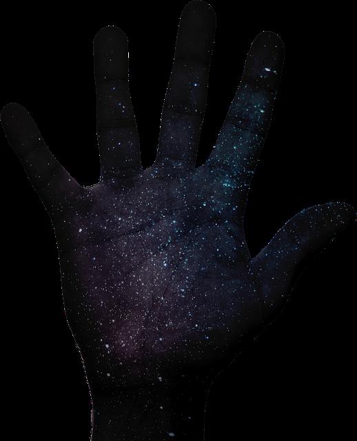 銀河の模様をした手
