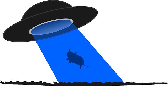 UFOに連れ去られるモンスター